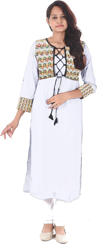Lakkar Haveli Women Long Dress White Color Jacket Frock Suit Wedding Wear Tunic Maxi Dress Plus Size