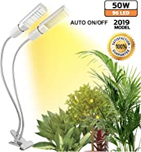 50W Plant Grow Light for Indoor Plants Natural Sunlight Ultra Bright Full Spectrum LED Grow Lamp, Dual Head Adjustable Replaceable Bulbs Succulent UV Light Growth Lamp Seeding Flowering (2019 Model)