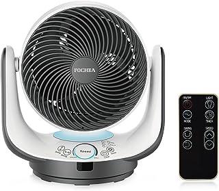 Fochea Ventilador de Mesa Potente Ventilador Turbo/Ventilador de Circulador Multifunción con Control Remoto, 3 Modo y 8 Velocidades Ajustables, Temporizador, Oscilante, Luz LED