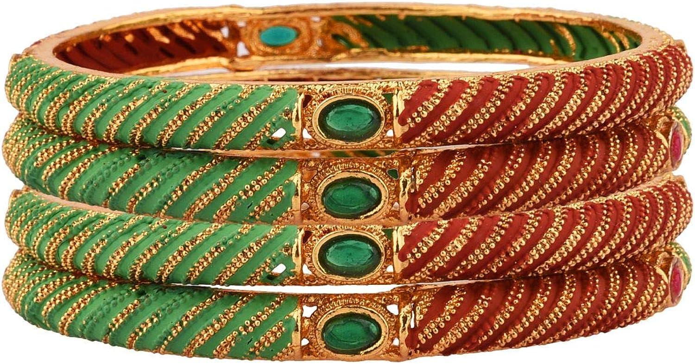 Efulgenz Indian Style Bollywood Traditional Rhinestone Indian Bangle Bracelet Set Jewelry for Women