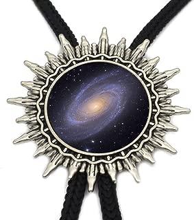 JIA-WALK Nebula Galaxy Tie Trendy Mysterious Milky Way Glass Dome Western Ties Slide Silver Neck Tie