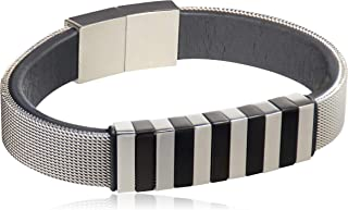 Genuine Leather and Silver Stainless Steel 316L Unisex Bracelet…