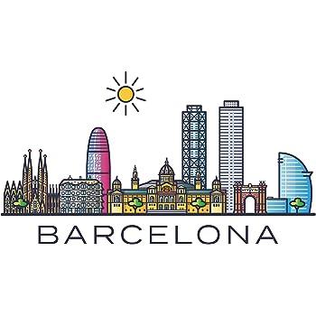 Pegatina de pared skyline Barcelona España ciudades motivo lugares turísticos pared pegatina paisaje urbano pegatina horizonte XXL: Amazon.es: Bricolaje y herramientas