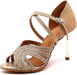 Latijnse dansende schoenen zachte bodem lovertjes doek set vijzel moderne vrouwen shinny balzaal bruiloft balzaal partij h...