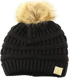 CC Kids Pom Pom Stretchy Ages 2 to 7 Soft Chunky Knit Beanie Cap Hat