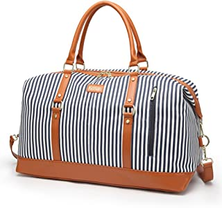 Overnight Bag for Women Canvas Weekend Travel Bag Ladies Duffle Tote Bags PU Leather Trim