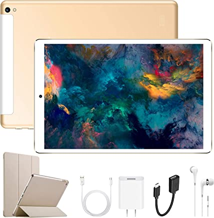 $89 Get Android Tablet 10.1 Inch with Dual SIM IPS/HD, 2GB RAM 32GB Battery 6500mAh, 4G Android 7.1 Tablet PC Quad-Core Dual Camera, Mediapad WIFI/Bluetooth/GPS/OTG (Gold)