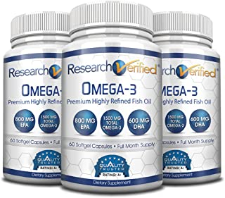 Research Verified Omega 3 - Omega 3 Fish Oil - 100% Pure Premium Omega Fatty Acids - High EPA 800mg + DHA 600MG; no Aftertaste - 1500mg Softgel Capsules, 3 Bottles (3 Months Supply)