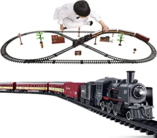 Electric Classical Train Sets with Steam Locomotive Engine, Cargo Car and Tracks, Battery Operated Play Set Toy w/ Smoke, ...