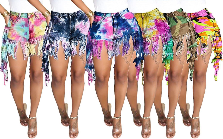 LAJIOJIO Women's Casual Denim Shorts, Fringe Raw Hem High Waisted Stretchy Jean Shorts