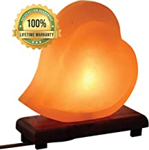 Mockins Hand Crafted Salt Lamp Heart Shape with Beautiful Wood Base -Includes Dimmer and Light Bulbs   Great Adult Night Lights and Decor