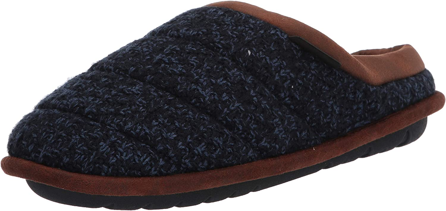 Dearfoams Men's Asher Quilted Clog Slippe Faux Max 44% OFF Leather Trim with Popularity