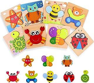 SPLAKS Jouet Bebe Puzzles en Bois Enfant Jouets Montessori Bebe 1 2 3 4 Ans Garçon Fille 8 Animaux Forme Jeux Educatif App...