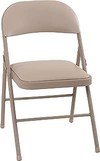Cosco Vinyl Folding Chair Antique Linen (4-pack)