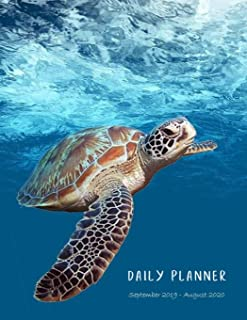 Daily planner September 2019 - August 2020: 1 day per page. Daily Goals, To Dos, Assignments and Tasks. Includes Gratitude section, Meal planner, Mood ... (Sea turtle underwater. Soft matte cover).