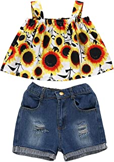 Toddler Kids Baby Girls Summer Outfits Sunflower Suspender Ruffle Top Jeans Short Pants Clothes Set