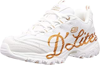 Skechers DLites Glitzy City Womens Fashion Trainers in White Gold - 10 US