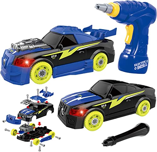 REMOKING Take Apart Racing Car,STEM Building Toys 26 Pieces Assembly Car Toys with Drill Tool, Lights and Sounds, Gif...