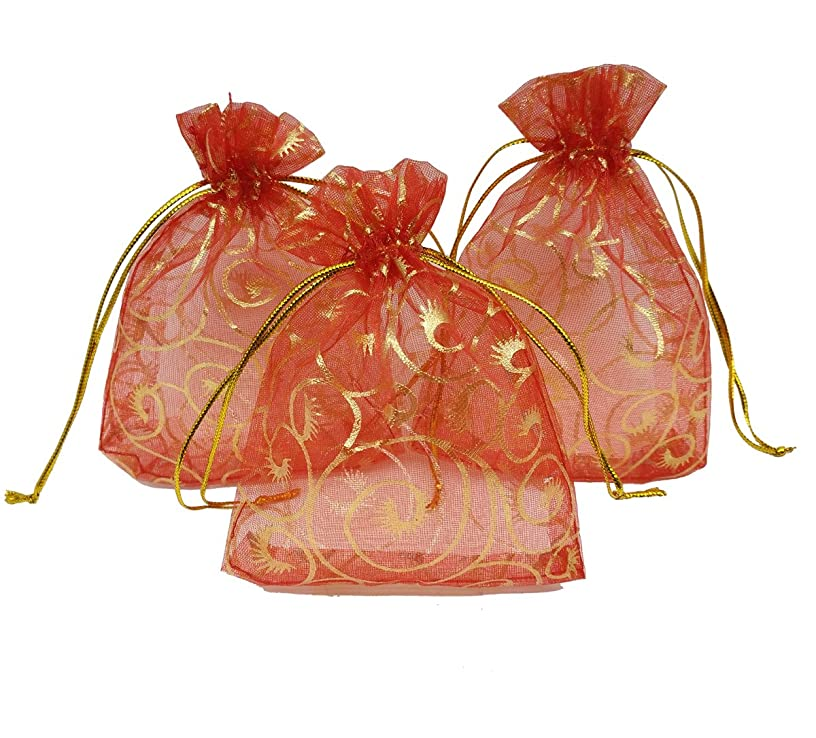 Ankirol 100pcs Sheer Organza Bag Eyelash Print Wedding Favor Bags 3.5x4.5'' Luxury Jewelry Candy Gift Card Bags with Gold Line Drawstring Pouches (hot red)