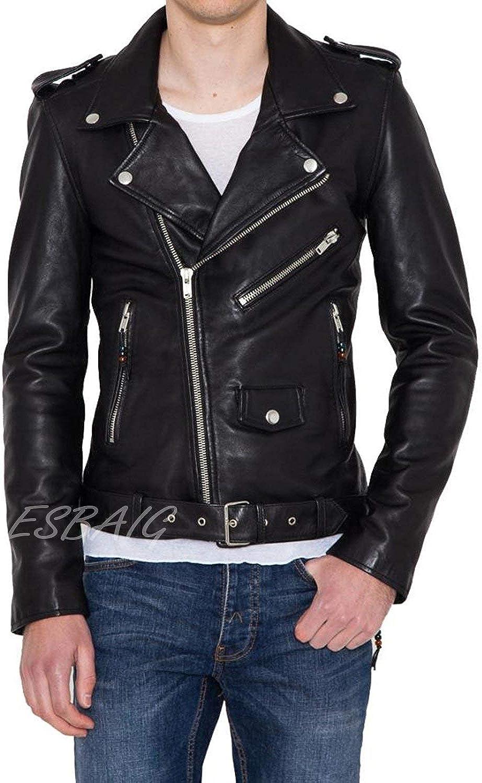 ESBAIG Men's Stylish Lambskin Genuine Leather Motorcycle Biker Jacket 95