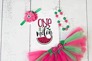GirliesGalore Girls Watermelon Birthday Outfit, Baby Girl 1st Birthday, One in a Melon, Watermelon Themed Birthday, Girls First Birthday Outfit