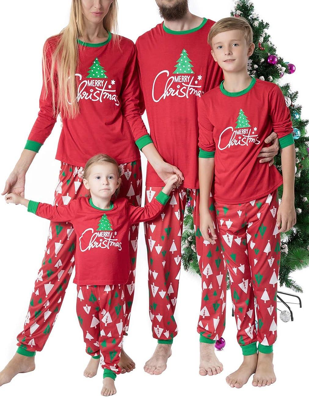 Matching Family Christmas Pajamas Sets Xmas Long Sleeve Tee and Pants Xmas Pajamas Sleepwear