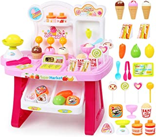 SODIAL Pink 1 Set of Children's Multi-Function Simulation Mini Supermarket Cashier ice Cream ice Cream Candy Vendor Kitchen Music Toys