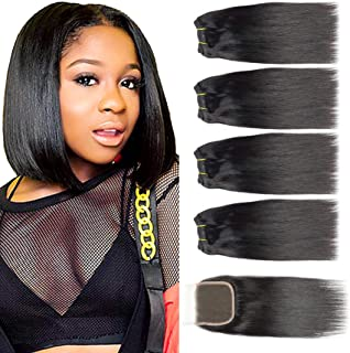 Selina Brazilian Virgin Hair Straight, Free Part Closure, Brazilian Hair 4 Bundles With Closure, 100% Unprocessed Human Hair Bundles With Lace Closure(8