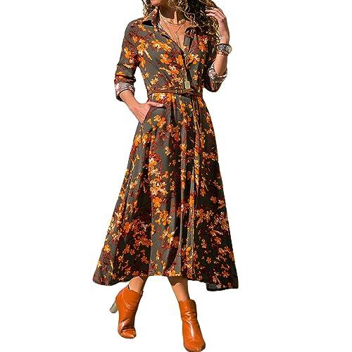 50a6844f7a5 HPYLove Women s V Neck 4 3 Sleeve Dresses Bohemian Floral Swing Beach Tank Maxi  Dress