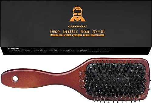 Brosse à Cheveux Plate En Soie De Sanglier Naturelle – Utilisée par les coiffeurs professionnels