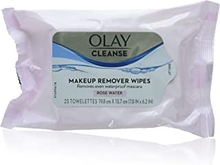 Olay Makeup Remover Wet Cloths,Rose water, 25 Count