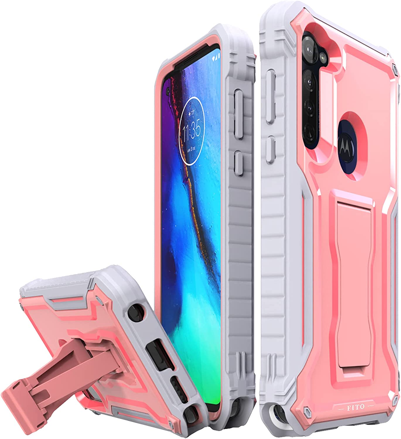 FITO for Moto G Stylus Case, Dual Layer Shockproof Heavy Duty Case for Moto G Stylus Phone Built-in Kickstand (Pink)
