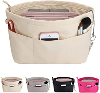 HyFanStr Purse Organizer Insert with Zipped Top for Tote Bag, Handbag Shaper with 13 Pockets