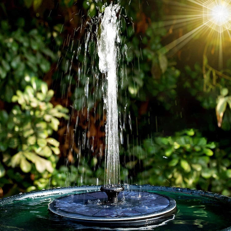 hygger 2.2W Solar Fuente Estanque, Fuente Bomba con 7 Boquillas, por Jardin/ Piscinas/ Estanque/ Baño Pájaros