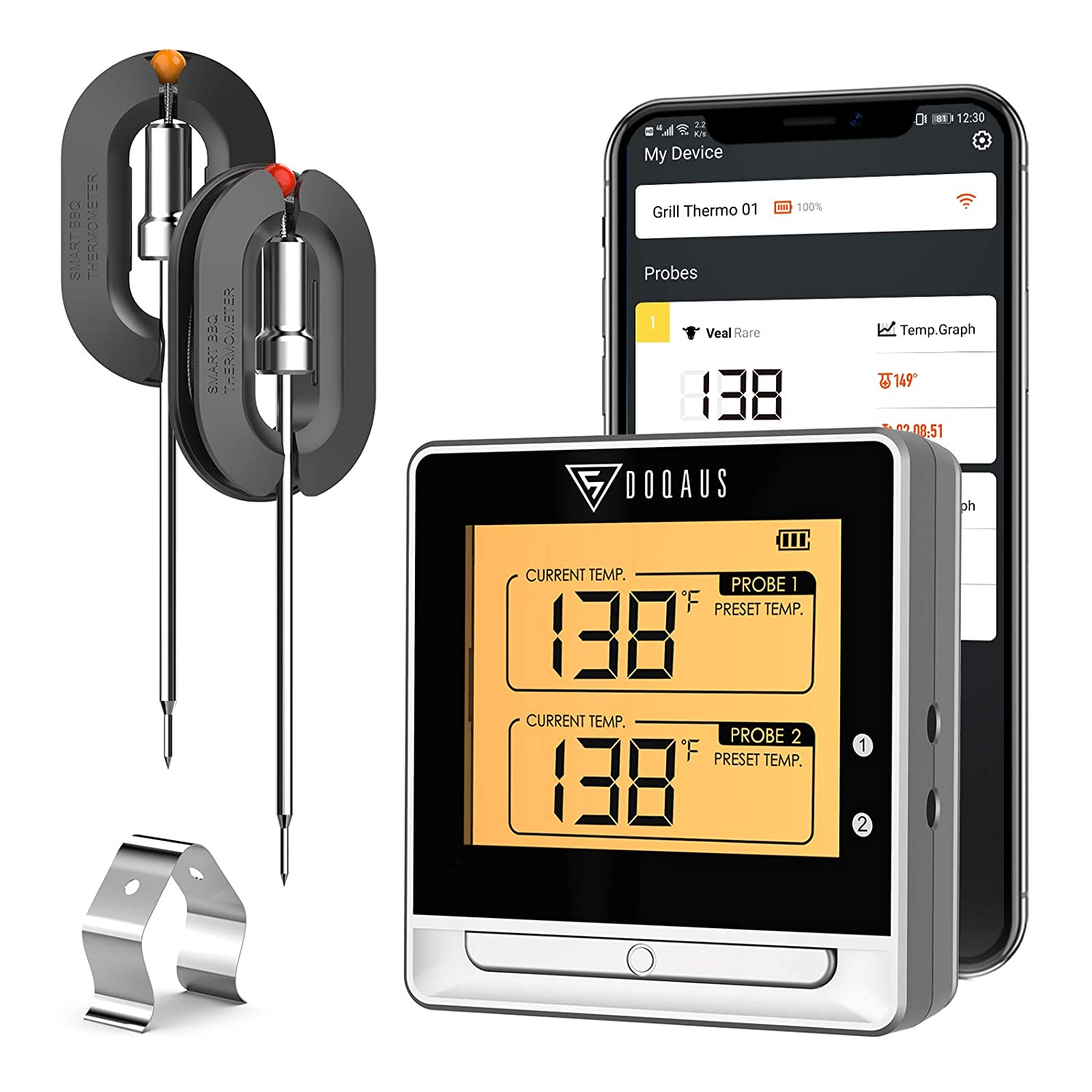 DOQAUS Bluetooth Meat Thermometer for Grilling, Digital Meat Thermometer with 2 Probes, 197ft Remote Cooking Thermometer with Smart Kitchen Timer and Backlight for Smoker, Oven, Grill, BBQ