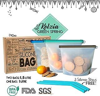 Kelzia Bolsas de Silicona para Alimentos reutilizables con 3 pajitas de silicona - Bolsa de Comida para cocinar almuerzo aperitivos sándwich