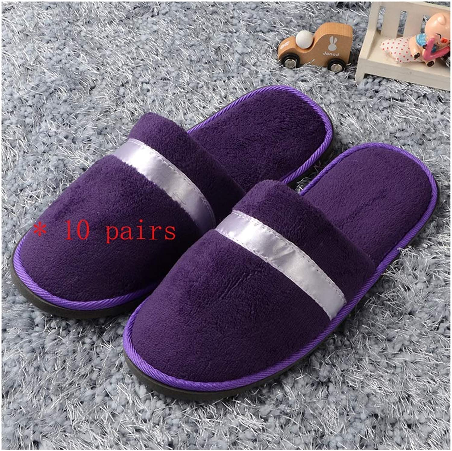 Slippers Women and Men Disposable Portable Women's Slippers Non-Disposable Women's Slippers 10 Pairs Women's Half Toe Spa Slippers Men's Hotel Home Hospitality Beach Sole 9mm Thick Spa-