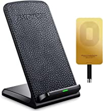 Fast Wireless Charger ivolks Leather Cordless Cellphone Rapid Charger with Receiver Portable QI Charging Stand Pad for for Apple iPhone X/8/8Plus/7/7 plus/6s/6s Plus/6/6 plus/5s/SE,Samsung Galaxy etc