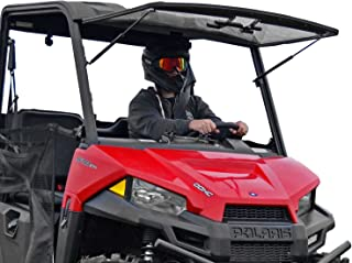 SuperATV Heavy Duty Scratch Resistant 3-in-1 Flip Windshield for Polaris Ranger MIDSIZE 500/570 / 570 Crew/ETX/EV (2015+) - Has 3 Different Settings!