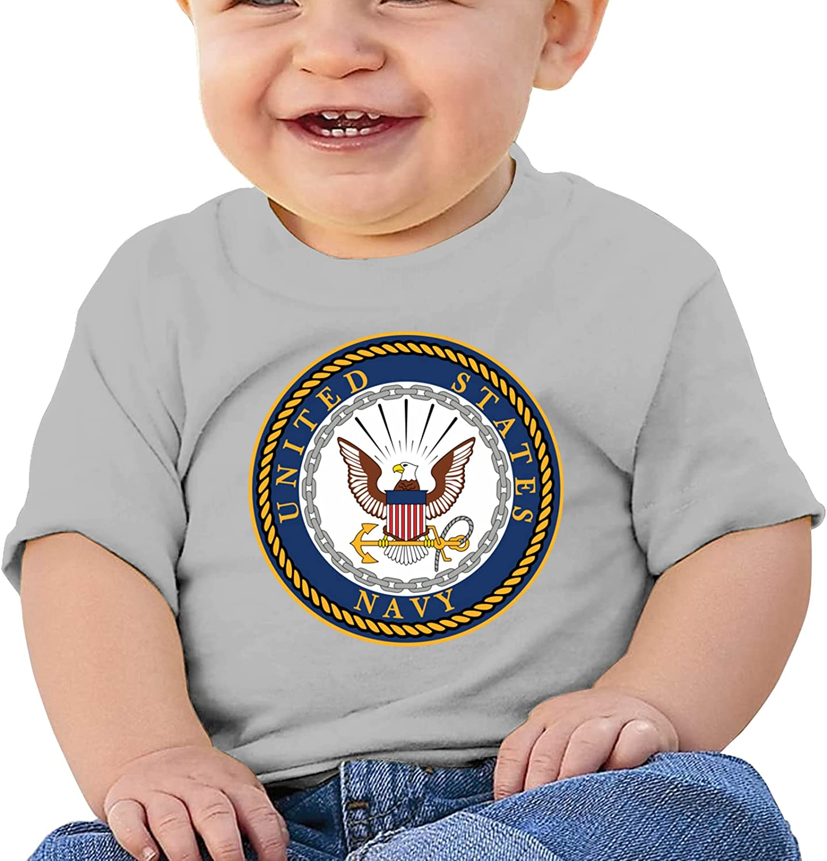 XKDIJIUJB Us Navy Emblem Breathable Short Sleeve T-Shirts Boys and Girls Top Tee Short Sleeve Cotton Round Neck