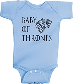Baby of Thrones Stark Winter is Coming Romper Funny Onesie by BeeGeeTees (6 Months, Blue)