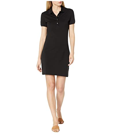 Lacoste Short Sleeve Slim Fit Stretch Pique Polo Dress (Black) Women