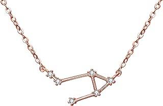 Women 925 Sterling Silver Wedding Bridal CZ Horoscope Zodiac 12 Constellation Astrology Pendant Necklace Birthday Gift