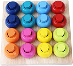 Babe Rock Wooden Color Sorting Stacking Rings Board Educational Learning Counting Toys Puzzle Games for 1 Year Old Preschool Kids Children Gift