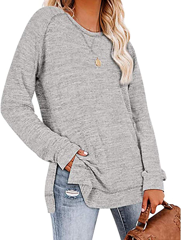 BlaCOG Womens Tunic Tops for Legging Crewneck Blouse Oversized Side Split Plain Pullover Blouse (S-2XL)