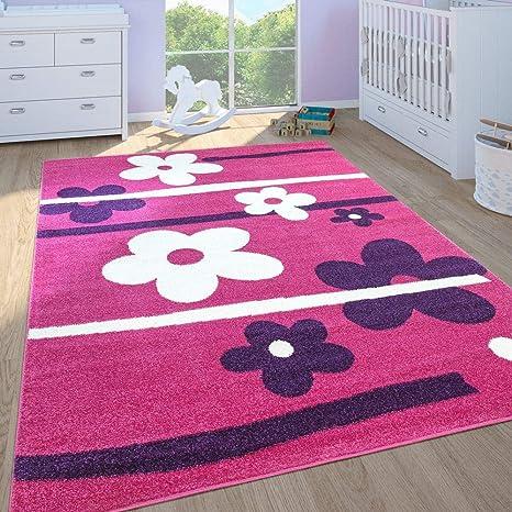 Amazon Com Kids Rug For Girls Bedroom Flower Design Area Rug Low Pile In Modern Pink Purple Size 2 8 X 4 11 Kitchen Dining
