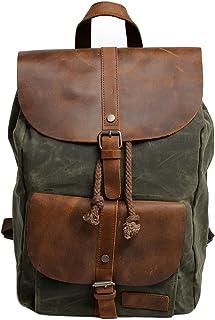 Neuleben Vintage Wasserdicht Rucksack Daypack aus Canvas Leder Damen Herren für Reise Outdoor Schule Grün