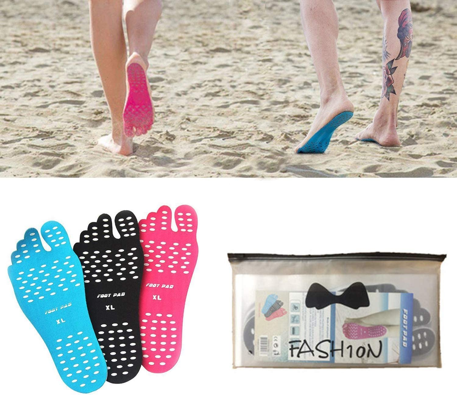 Unisex Beach Invisible Shoes Stick on Soles Sticky Pads Foot Protection Sticker