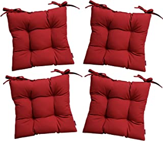 RSH Décor Set of 4 - Indoor/Outdoor Sunbrella Canvas Jockey Red Tufted Seat Cushions with Ties for Dining/Patio Chairs - Choose Size (17