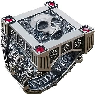 eejart 925 Sterling Silver Roman Ruby Rings, Skull Square Set Vampire Biker Caesar Crown Ring for Men